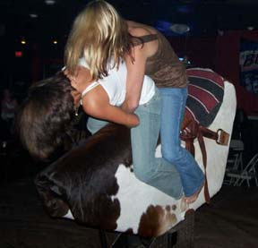 Photo: Girls on mechanical bull